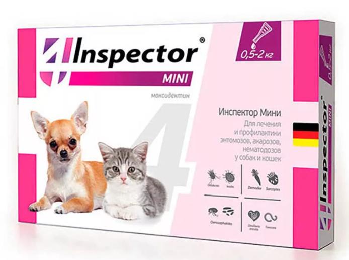 Инспектор Мини Капли от блох, клещей и гельминтов для кошек и собак петдог