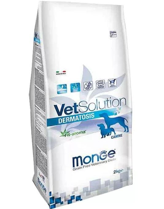 Monge Dermatosis VetSolution, диета для собак при аллергии и дерматологических заболеваниях, 2 кг петдог