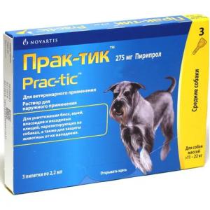 Прак-тик капли  для собак весом 11 – 22 кг, 1 пипетка петдог