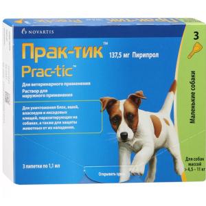 Прак-тик капли для собак весом 4,5 – 11 кг, 1 пипетка петдог