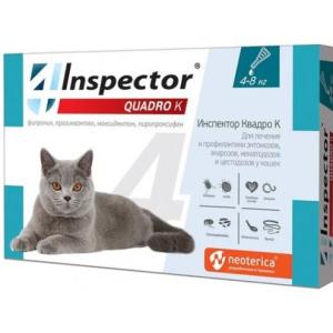 Инспектор Quadro K капли для кошек от 4-8 кг, 1 пипетка петдог