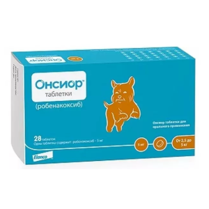 Онсиор, для собак массой от 2,5  до 5 кг таблетки 5 мг, цена за один блистер 7 таблеток петдог